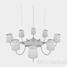 银色吊灯3d模型下载
