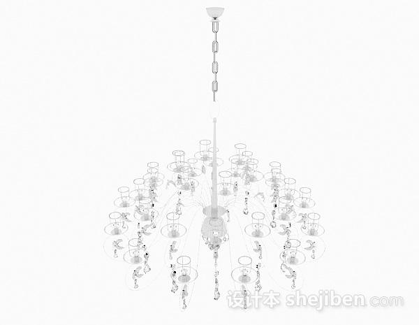 现代风格白色水晶吊灯
