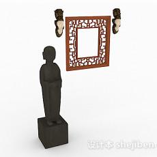 中式风格家居组合摆件3d模型下载