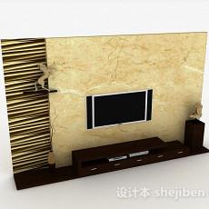 现代风格大理石花纹电视背景墙3d模型下载