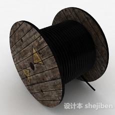 黑色电缆绳3d模型下载