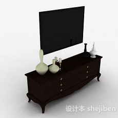 欧式深棕色家居电视储物柜3d模型下载