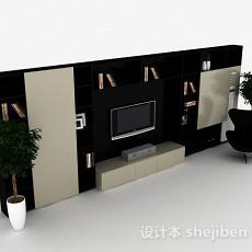 现代风格时尚黑色电视背景墙3d模型下载