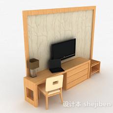 现代风格黄色木质电视柜3d模型下载