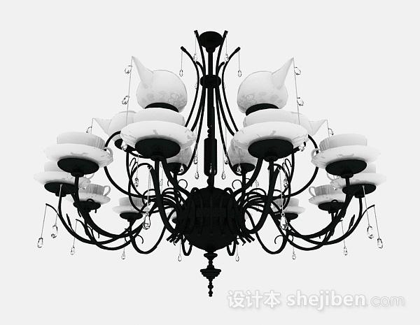 吊灯模型下载_欧式黑白家居吊灯3d模型下载-设计本3D模型下载