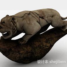 中式风格猛虎雕刻摆件3d模型下载