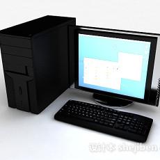 黑色台式电脑3d模型下载