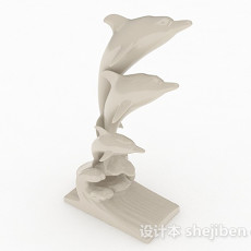 现代风格白色石质海豚雕刻品3d模型下载