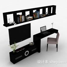 现代风格黑色多功能组合电视柜3d模型下载