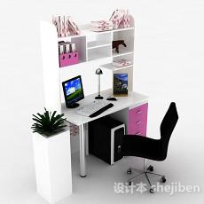 简约书桌柜3d模型下载