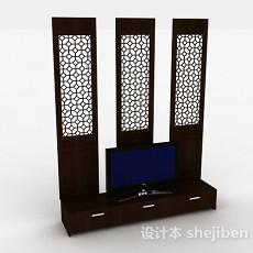 中式风格木质镂空电视背景墙3d模型下载