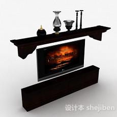 欧式风格深棕色木质组合电视柜3d模型下载