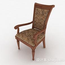 欧式花纹木质家居椅3d模型下载
