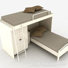 现代白色木质双层床3d模型下载