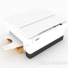 白色小型打印机3d模型下载