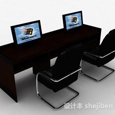 黑色办公桌椅组合3d模型下载