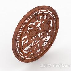 中式圆形镂空雕花窗户3d模型下载