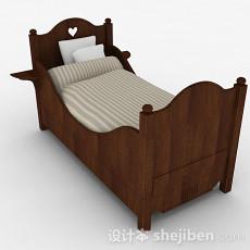 现代时尚棕色儿童单人床3d模型下载