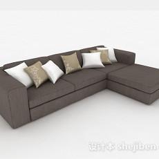 棕色多人沙发3d模型下载