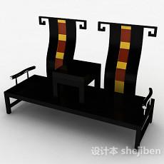 中式风黑色组合家居椅3d模型下载