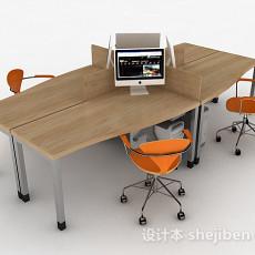 棕色木质办公桌椅组合3d模型下载