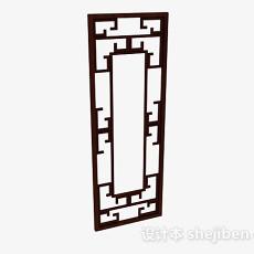 中式木质棕色门3d模型下载