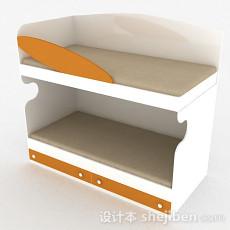 白色上下层单人床3d模型下载