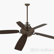 棕色吊扇灯3d模型下载