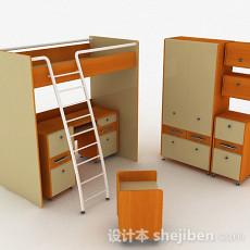 浅色组合单人床3d模型下载