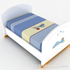 白色卡通图案单人儿童床3d模型下载