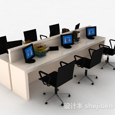 简约办公桌椅组合3d模型下载