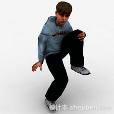 外国小男孩坐姿3d模型下载