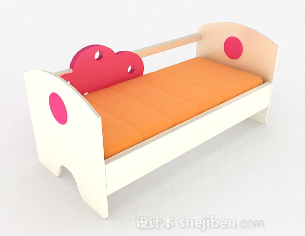 粉红色木质儿童床