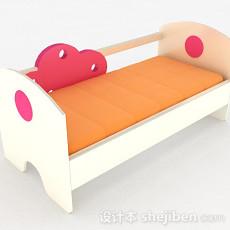 粉红色木质儿童床3d模型下载