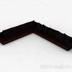 深棕色转角多人沙发3d模型下载