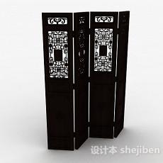 中式风格雕花四面屏风3d模型下载
