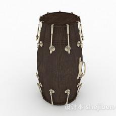 棕色木质鼓3d模型下载