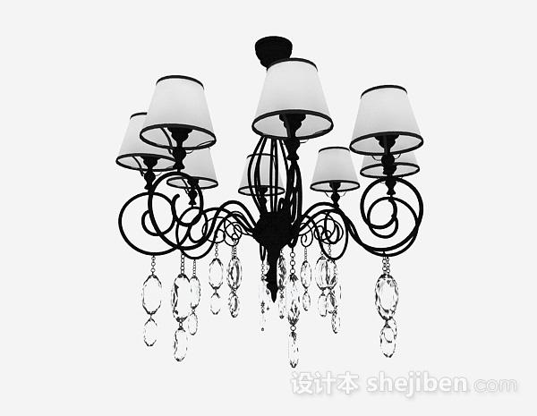 欧式风格黑色金属水晶吊灯