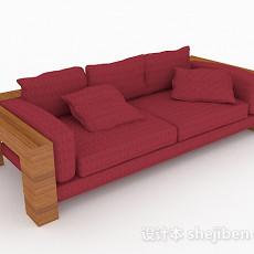 田园红色双人沙发3d模型下载