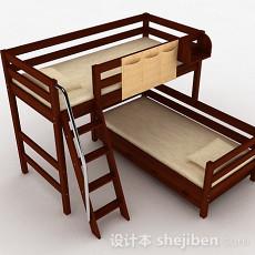 上下层木质组合单人床3d模型下载