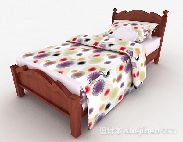 儿童木质单人床