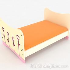 白色童趣单人床3d模型下载