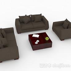 深棕色简约组合沙发3d模型下载