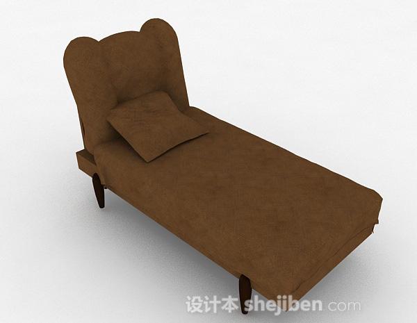 现代风棕色单人沙发