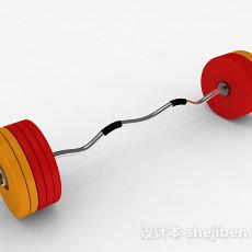 红黄双色杠铃3d模型下载