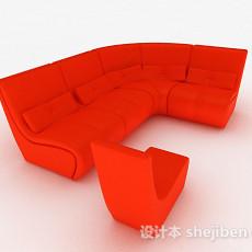 橙色组合沙发3d模型下载