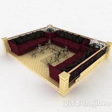 欧式红色客厅多人组合沙发3d模型下载