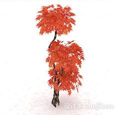 红色枫树3d模型下载