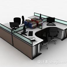现代风工作桌椅组合3d模型下载