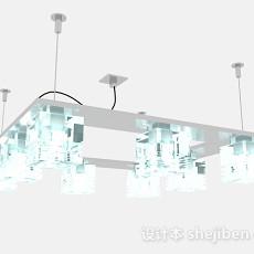 现代风格淡蓝色时尚方形水晶吊灯3d模型下载